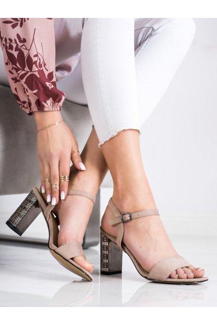 Hnedé sandále na podpätku S. barski kod LJ261P