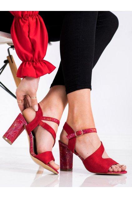 Červené sandále na podpätku S. barski kod 1530-18R