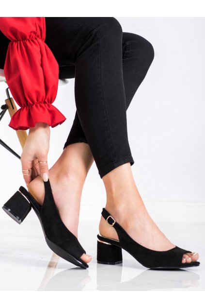 Čierne sandále na podpätku Goodin kod GD-FL1320B/GO