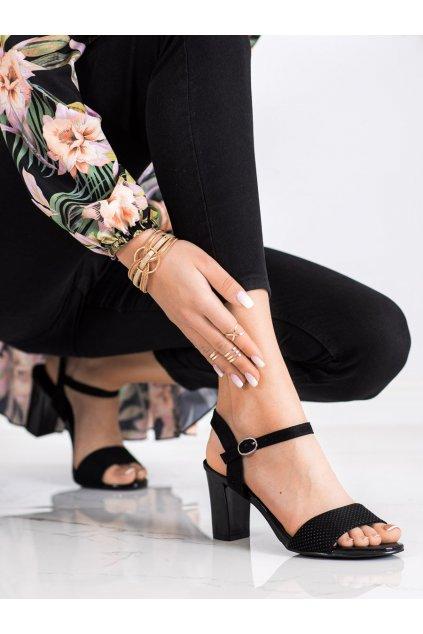Čierne sandále na podpätku Goodin kod GD-FL1031B