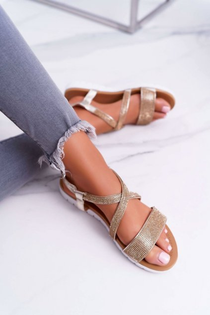 Dámske ploché sandále farba žltá NJSK 406-5 GOLD