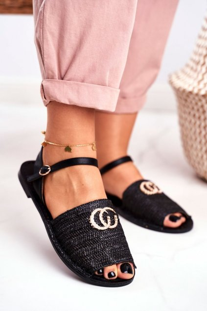 Dámske ploché sandále farba čierna NJSK 108-B8 BLK