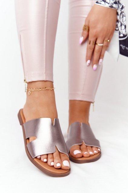 Dámske šľapky farba sivá kód obuvi SK063 SILVER