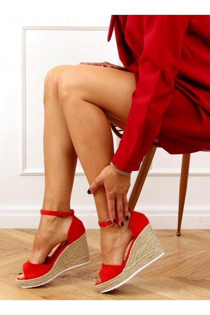 Dámske sandále červené na platforme 888-89