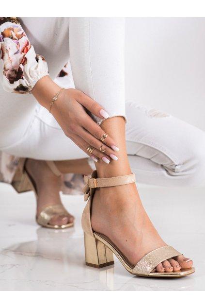 Zlaté sandále na podpätku Vinceza kod YQE21-17118GO