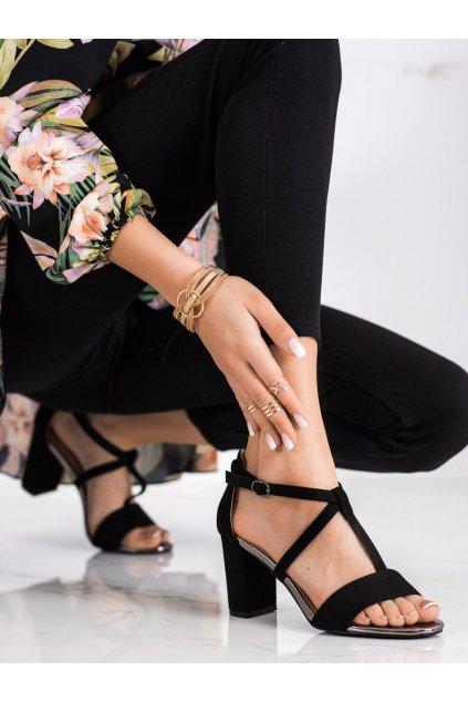 Čierne sandále na podpätku Vinceza kod YQE21-17098B