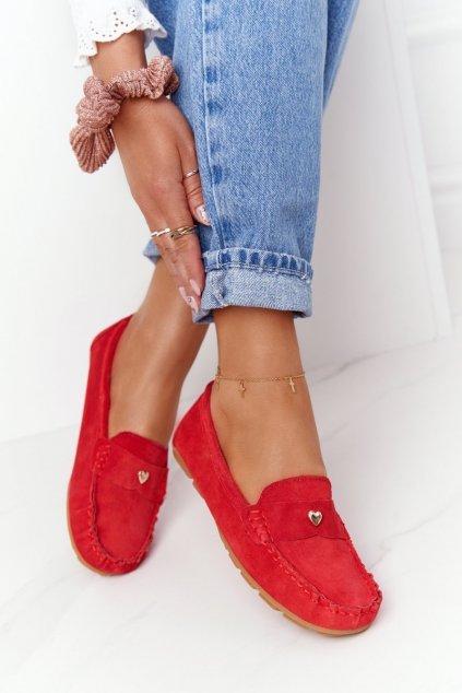 Dámske mokasíny farba červená kód obuvi 97609 RED