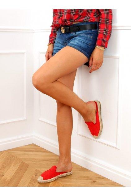 Dámske sandále s plochou podrážkou červené na plochom podpätku 4821