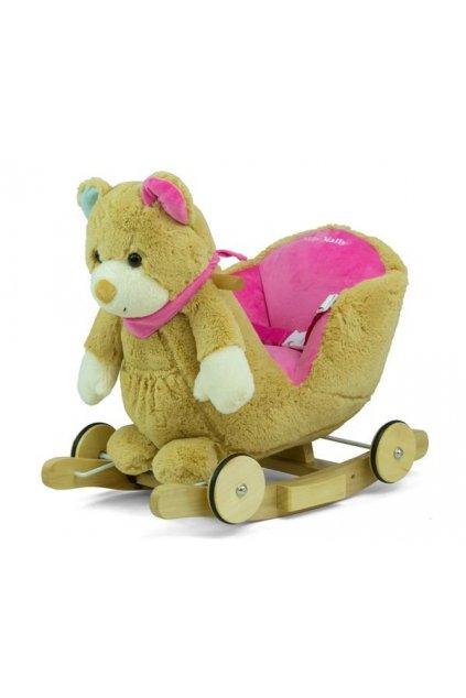 Hojdacia hračka s melódiou a kolieskami Milly Mally Polly Medvedík sivo-ružový