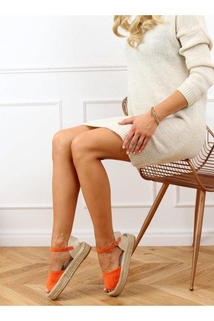 Dámske sandále s plochou podrážkou oranžové na plochom podpätku A663-ESP-1