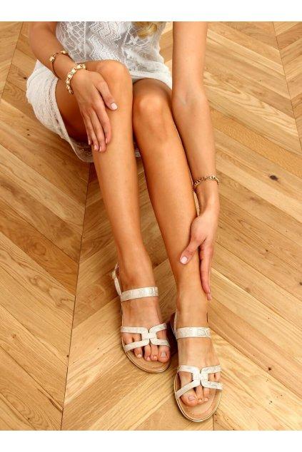 Dámske sandále zlaté na plochom podpätku H8-176