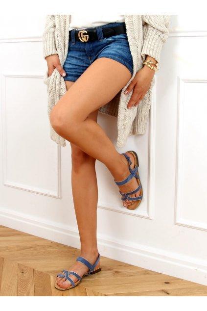 Dámske sandále s plochou podrážkou modré na plochom podpätku H8-177