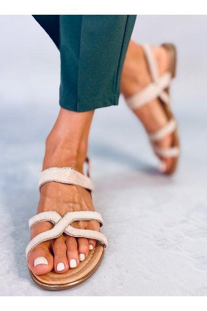 Dámske sandále s plochou podrážkou hnedé na plochom podpätku H8-177