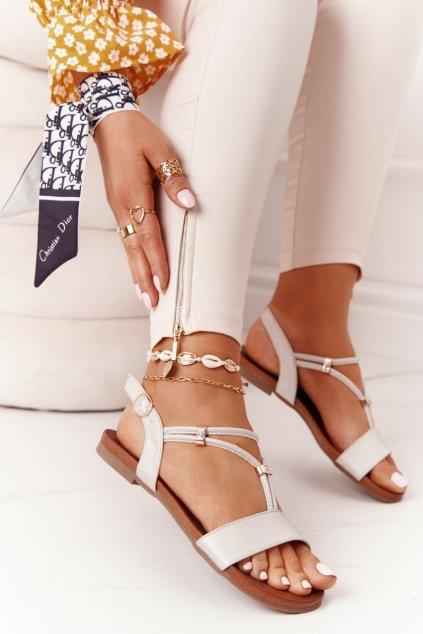 Dámske sandále s plochou podrážkou farba hnedá kód obuvi 5541-120 BEIGE