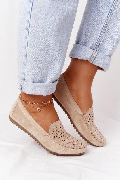 Dámske mokasíny farba hnedá kód obuvi J141 APRICOT