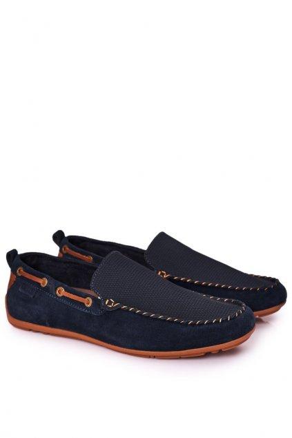 Pánske poltopánky farba modrá kód obuvi HH1N4019 NAVY/BROWN