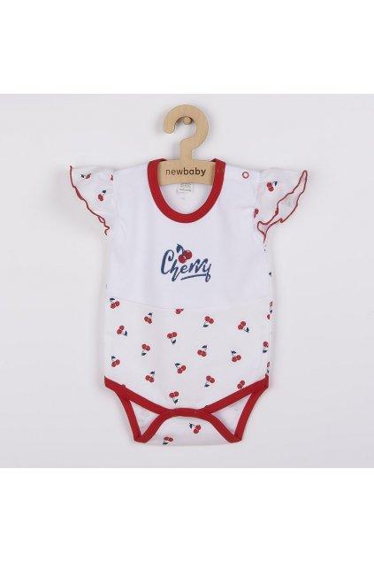 Dojčenské bavlnené body s krátkym rukávom New Baby Cherry