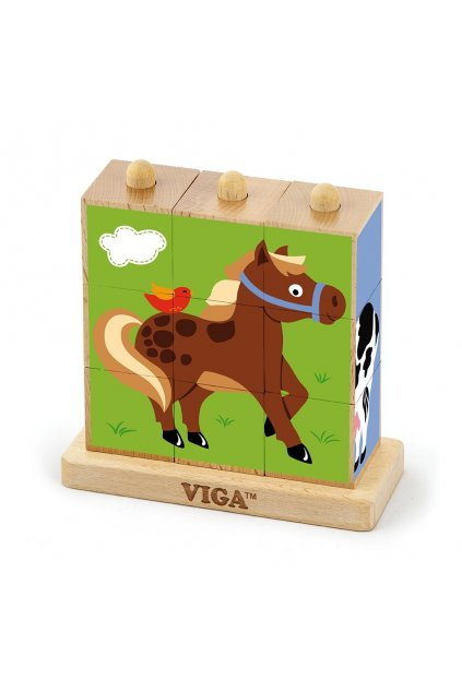 Drevené puzzle kocky na stojane Viga Farma
