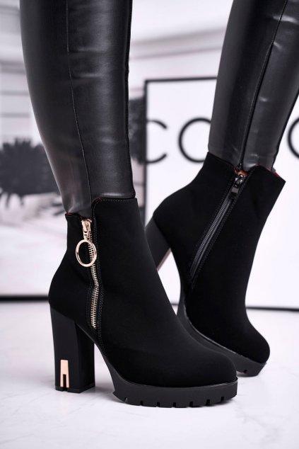 Členkové topánky na podpätku farba čierna NJSK C635 BLK