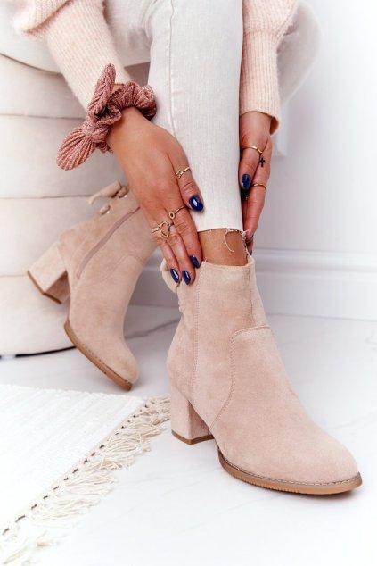 Členkové topánky na podpätku farba hnedá NJSK 20Y8054-9 BEIGE
