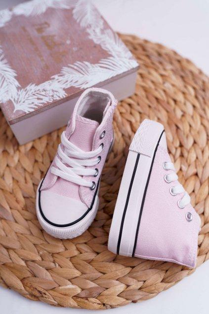 Detské vysoké tenisky ružové Filemon NJSK 80090-1F LT.Pink