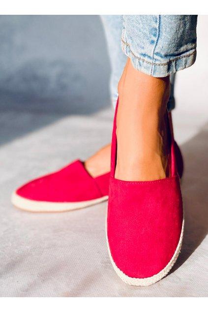 Dámske sandále červené na plochom podpätku 7870
