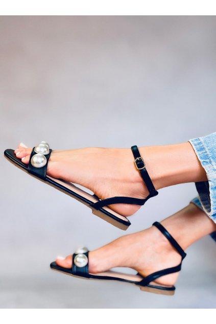 Dámske sandále čierne na plochom podpätku H19