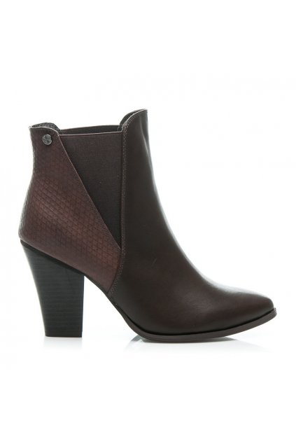 Hnedé topánky na opätku 23-M52231BR / S3-105P veľ.č. 38, 39, 40 (Veľkosť UK7 / EUR 40)