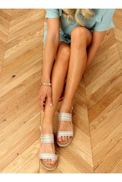 Dámske sandále biele na plochom podpätku FD-50