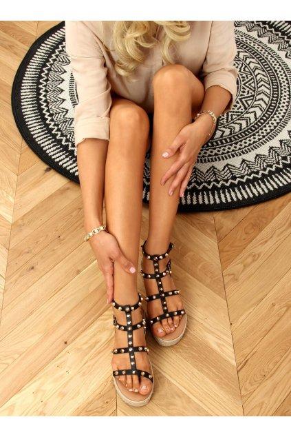 Dámske sandále čierne na plochom podpätku ME01
