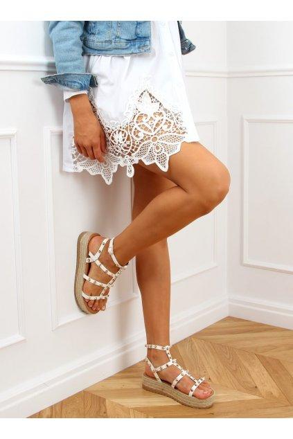 Dámske sandále biele na plochom podpätku ME01