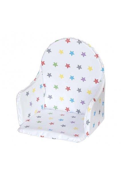 Vložka do drevených jedálenských stoličiek typu New Baby Victory biela hviezdy viacfarebné