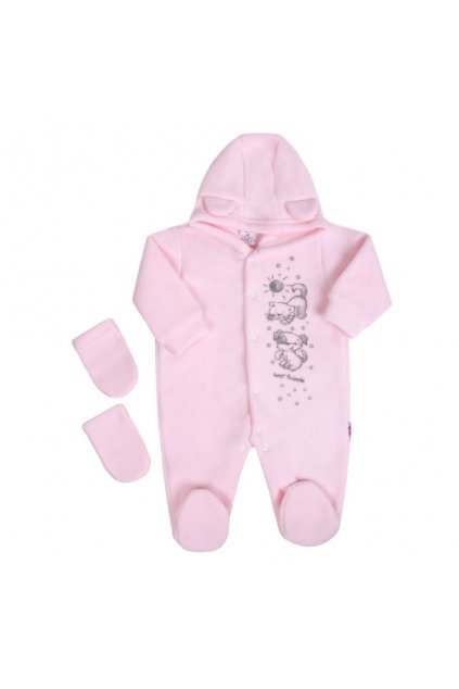 Fleecový overal New Baby Kamaráti ružový NJSK 20464