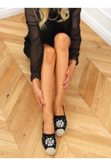 Dámske sandále čierne na plochom podpätku 2798