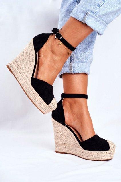 Dámske sandále na platforme farba čierna NJSK BL1919 BLACK