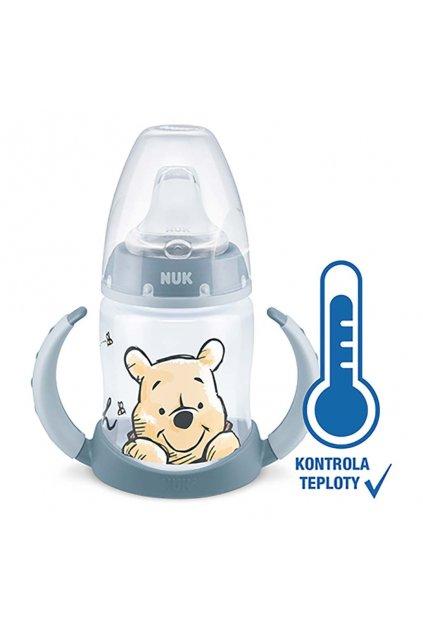 Dojčenská fľaša na učenie NUK Medvedík Pú s kontrolou teploty 150 ml modrá