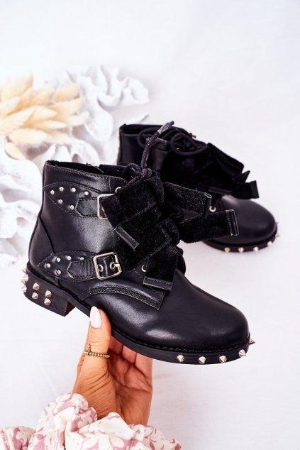 Detské členkové topánky farba čierna kód obuvi XW37017C BLK