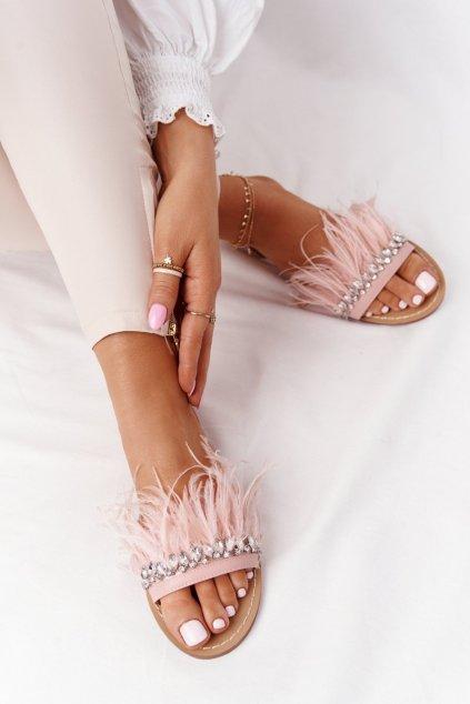 Dámske šľapky farba ružová kód obuvi HB-111 PINK