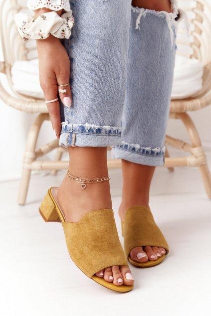 Dámske šľapky farba žltá kód obuvi KL313 YELLOW
