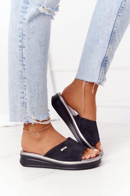 Dámske šľapky farba čierna kód obuvi SK042 BLACK