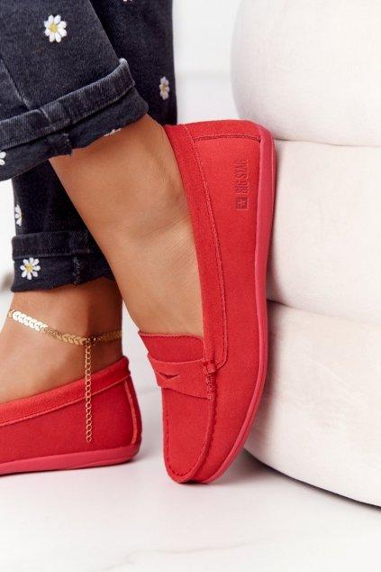 Dámske mokasíny farba červená kód obuvi HH274668 RED
