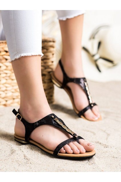 Čierne sandále Vinceza kod YQE21-17128B