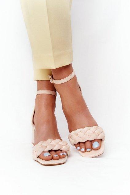 Dámske sandále na podpätku farba hnedá NJSK GG-102P BEIGE