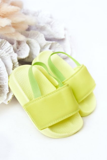 Detské šľapky farba zelená kód obuvi 294-B FLUO GREEN/ YELLOW