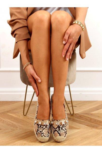 Dámske sandále hnedé na plochom podpätku 100-131-SC-1