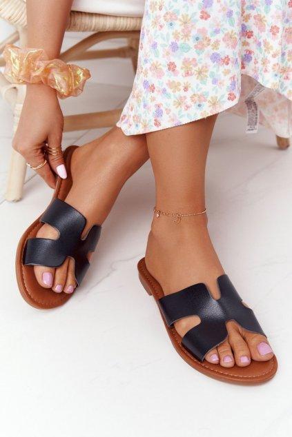 Dámske šľapky farba čierna kód obuvi 55-2 BLACK