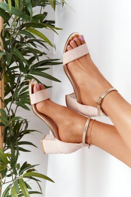 Dámske sandále farba hnedá kód obuvi J-8717 BEIGE