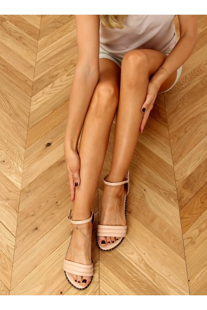 Dámske sandále ružové na plochom podpätku 55-93
