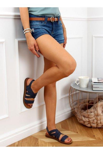 Dámske sandále modré na plochom podpätku 9225