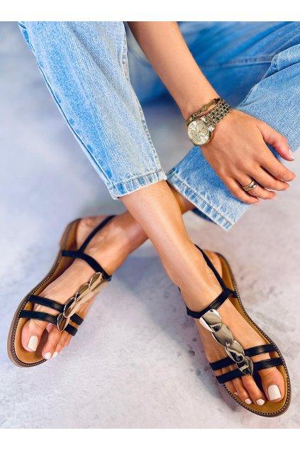 Dámske sandále čierne na plochom podpätku N-101
